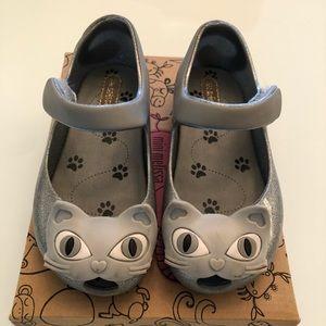 Mini Melissa Silver Glitter Cat Shoes